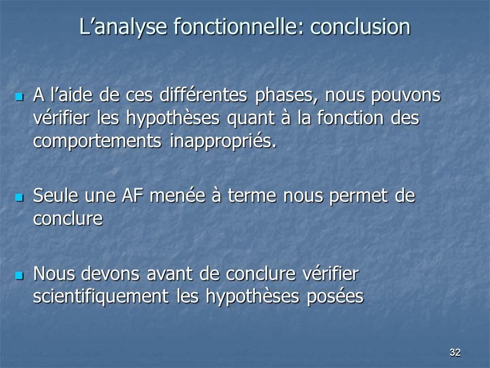 L'analyse fonctionnelle: conclusion