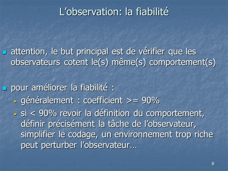 L'observation: la fiabilité