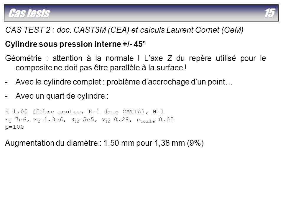 Cas tests CAS TEST 2 : doc. CAST3M (CEA) et calculs Laurent Gornet (GeM) Cylindre sous pression interne +/- 45°