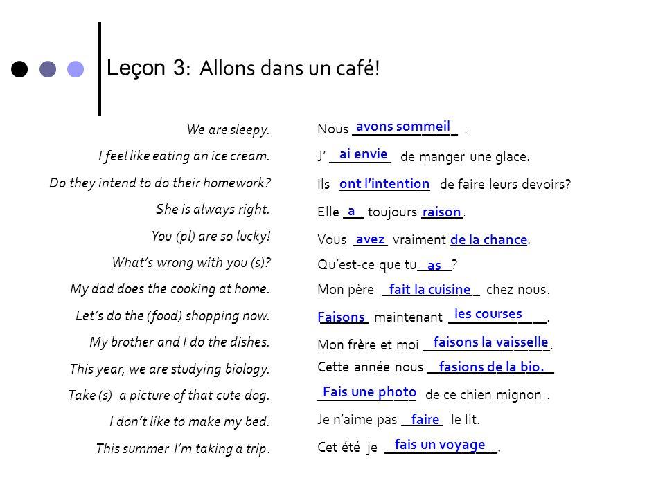 Leçon 3: Allons dans un café!