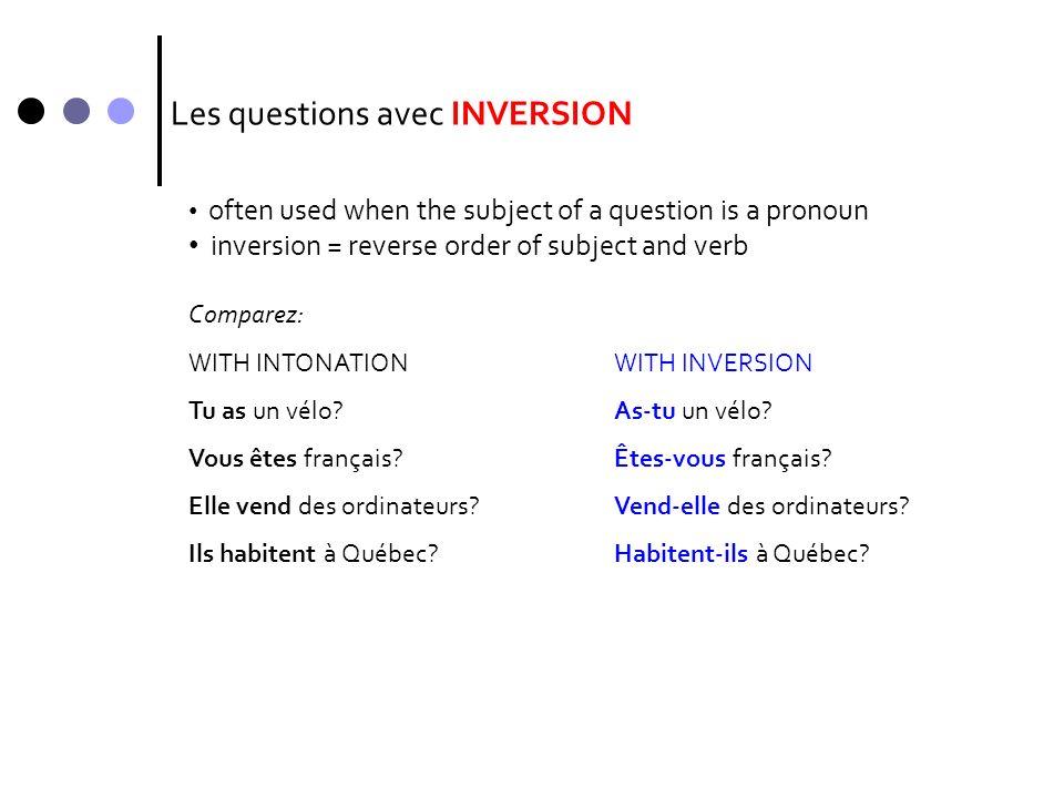 Les questions avec INVERSION