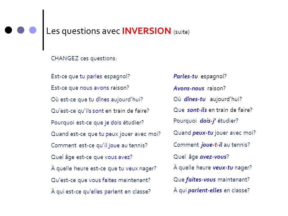 Les questions avec INVERSION (suite)