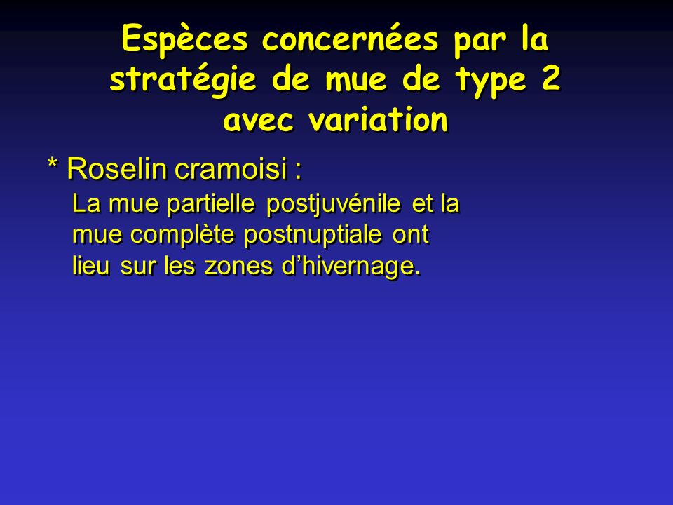Espèces concernées par la stratégie de mue de type 2 avec variation