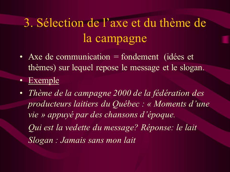 3. Sélection de l'axe et du thème de la campagne