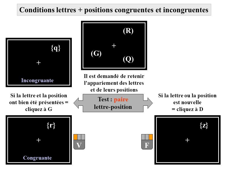 Conditions lettres + positions congruentes et incongruentes