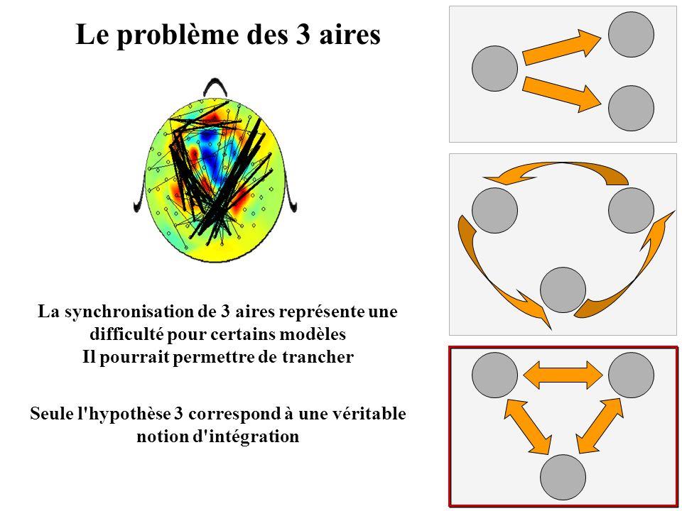 Le problème des 3 aires La synchronisation de 3 aires représente une difficulté pour certains modèles.