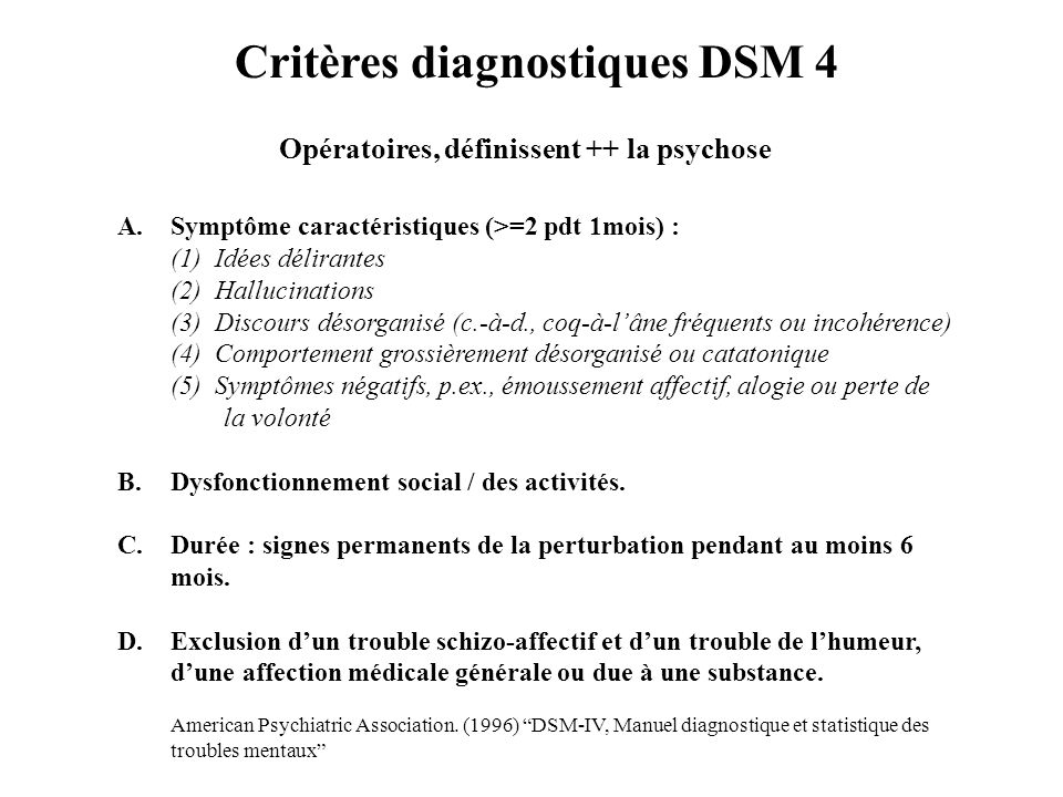 Critères diagnostiques DSM 4