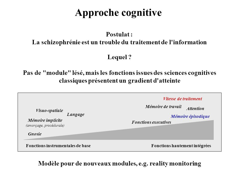 Approche cognitive Postulat :