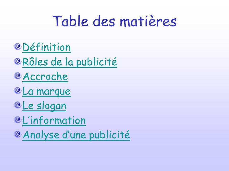 Table des matières Définition Rôles de la publicité Accroche La marque