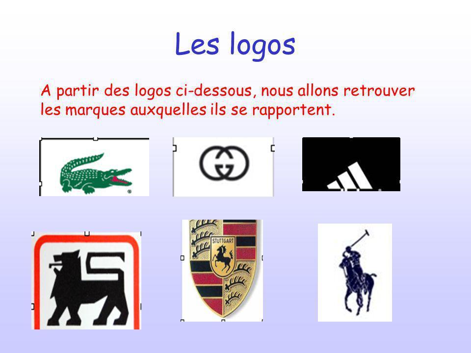Les logos A partir des logos ci-dessous, nous allons retrouver les marques auxquelles ils se rapportent.