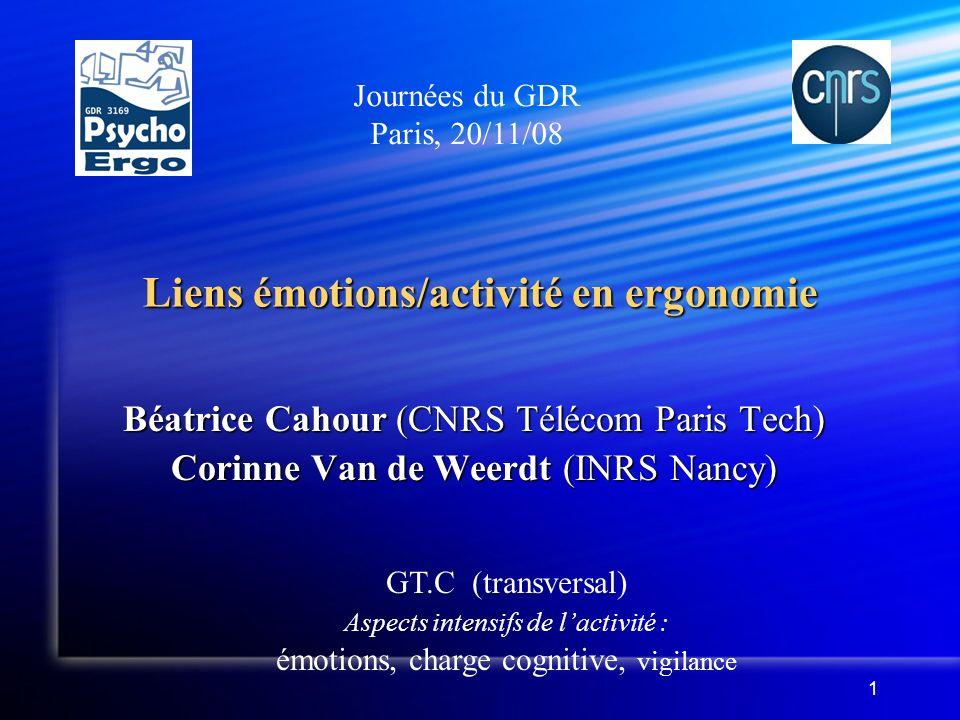 Liens émotions/activité en ergonomie