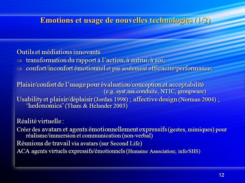 Emotions et usage de nouvelles technologies (1/2)