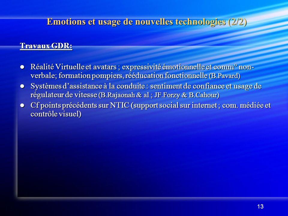 Emotions et usage de nouvelles technologies (2/2)