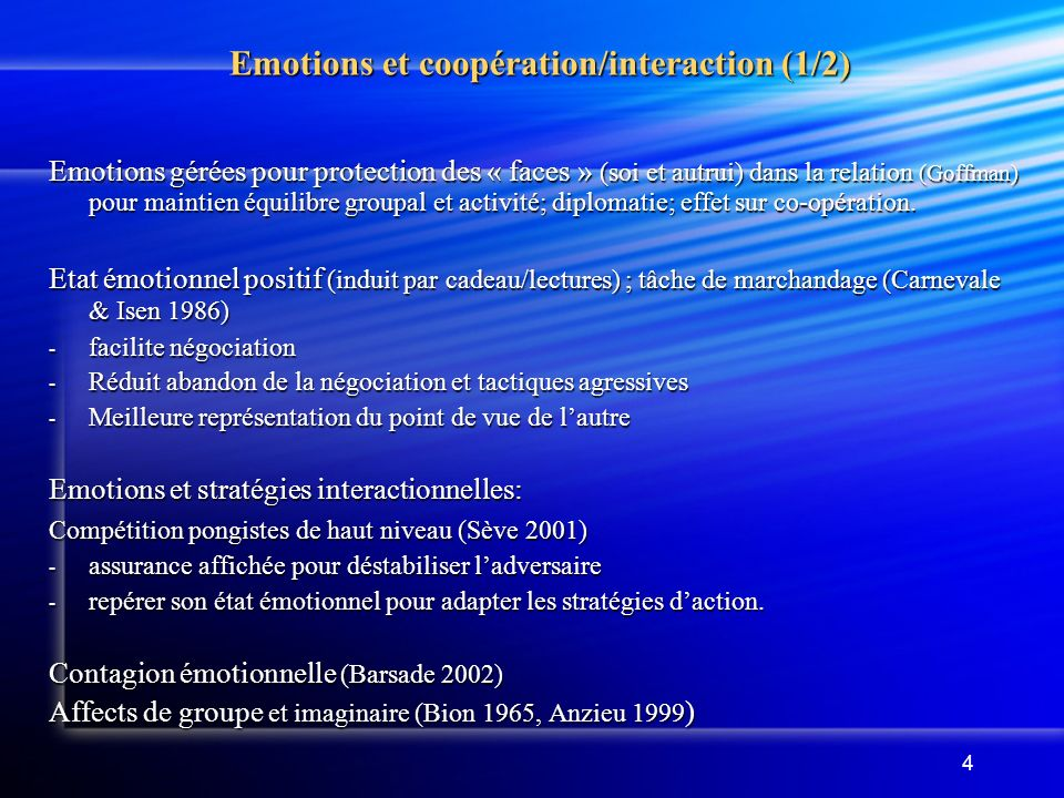Emotions et coopération/interaction (1/2)