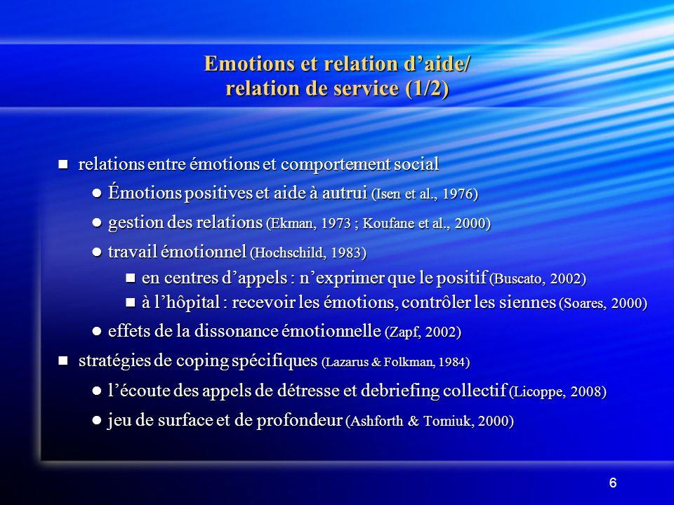 Emotions et relation d'aide/ relation de service (1/2)