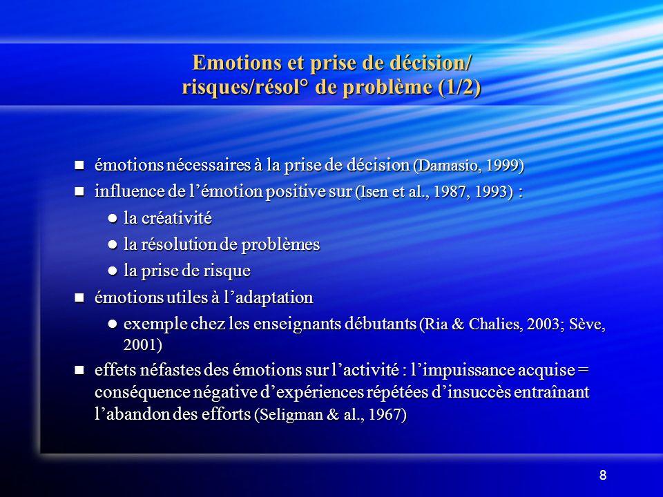Emotions et prise de décision/ risques/résol° de problème (1/2)