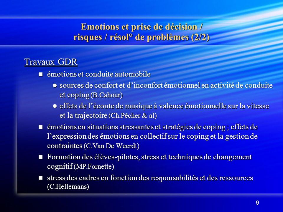 Emotions et prise de décision / risques / résol° de problèmes (2/2)