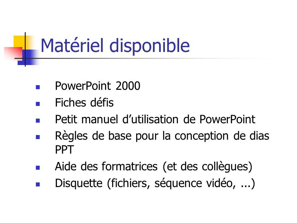 Matériel disponible PowerPoint 2000 Fiches défis