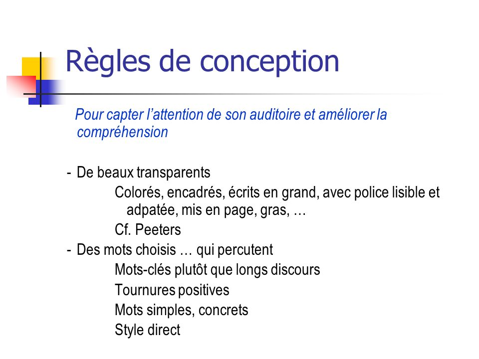 Règles de conception De beaux transparents
