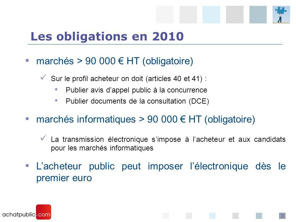 Les obligations en 2010 marchés > 90 000 € HT (obligatoire)