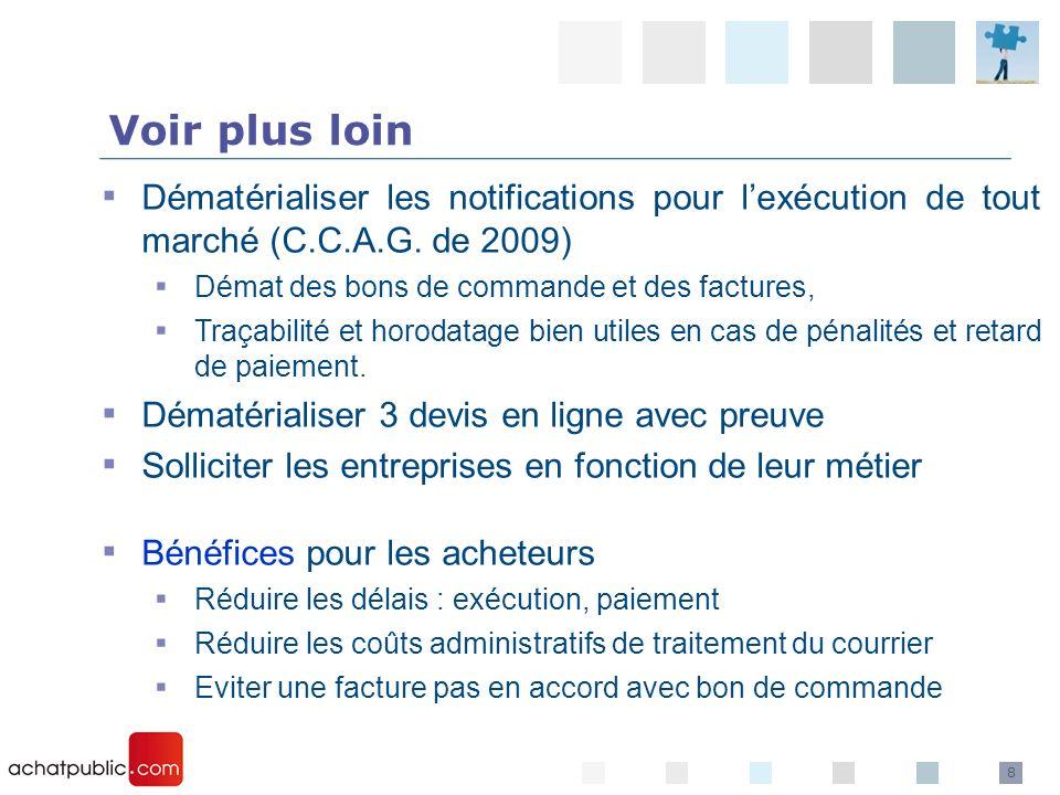 Voir plus loin Dématérialiser les notifications pour l'exécution de tout marché (C.C.A.G. de 2009) Démat des bons de commande et des factures,