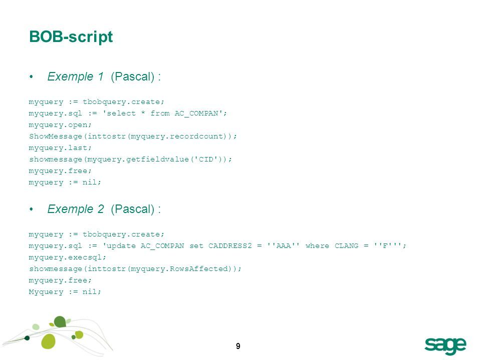 BOB-script Exemple 1 (Pascal) : Exemple 2 (Pascal) :
