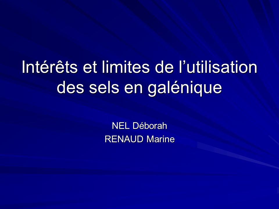 Intérêts et limites de l'utilisation des sels en galénique