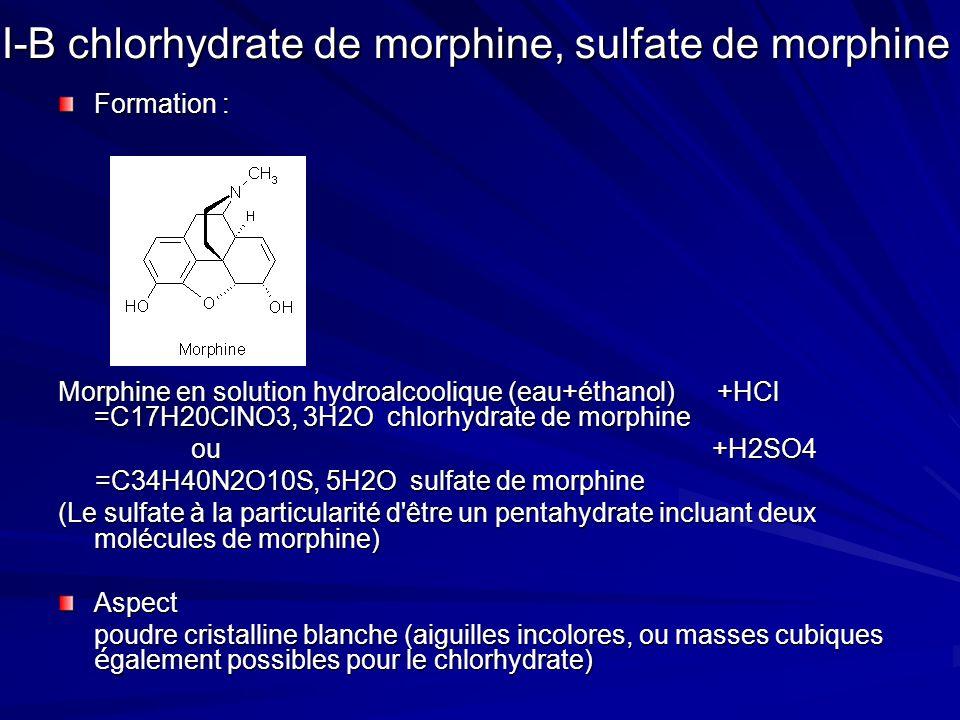 I-B chlorhydrate de morphine, sulfate de morphine