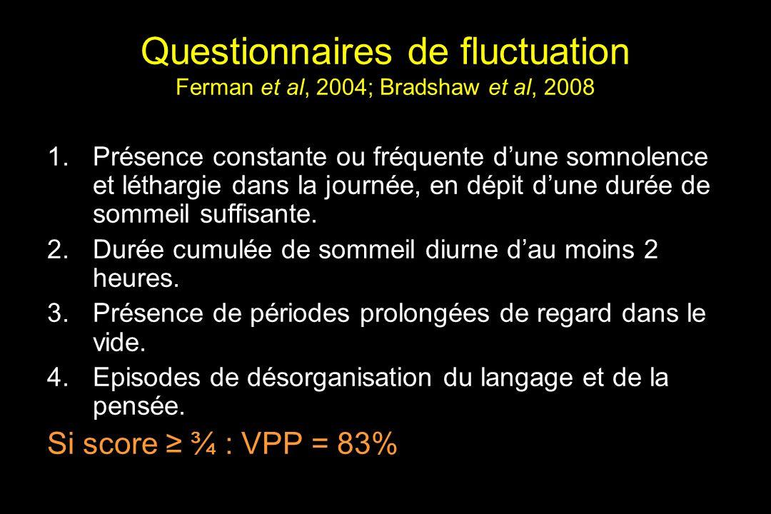 Questionnaires de fluctuation Ferman et al, 2004; Bradshaw et al, 2008