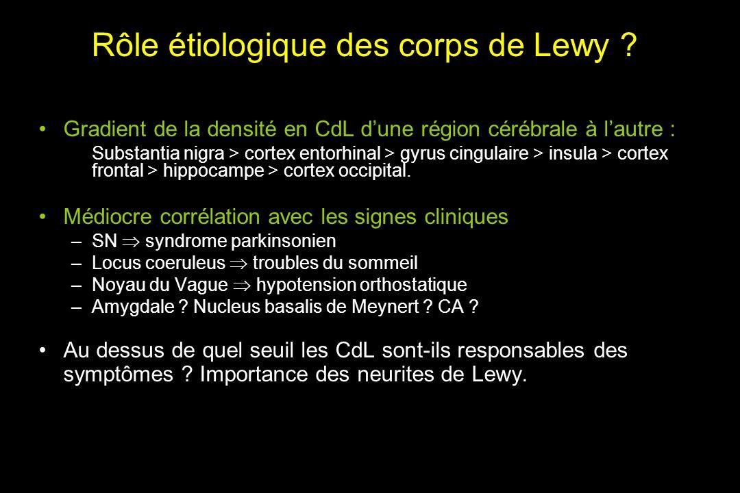 Rôle étiologique des corps de Lewy