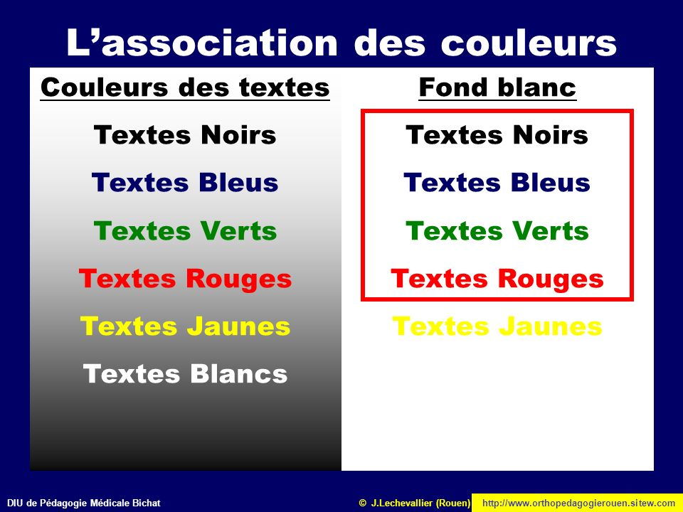Faire un enseignement avec powerpoint ppt t l charger - Association de couleurs ...