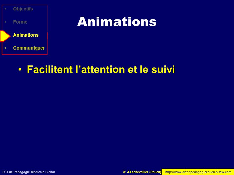 Animations Facilitent l'attention et le suivi Objectifs Forme