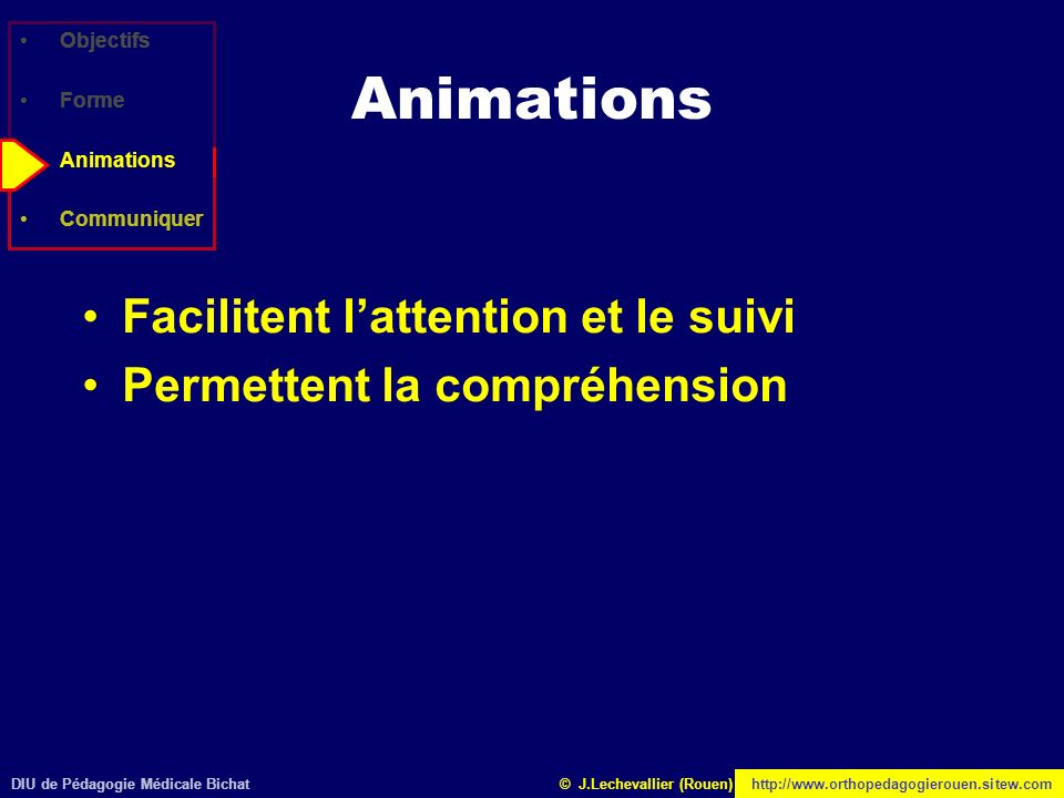 Animations Facilitent l'attention et le suivi