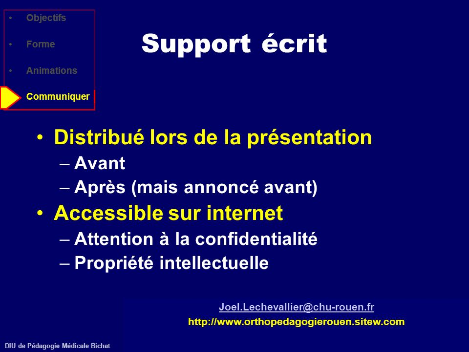 Support écrit Distribué lors de la présentation