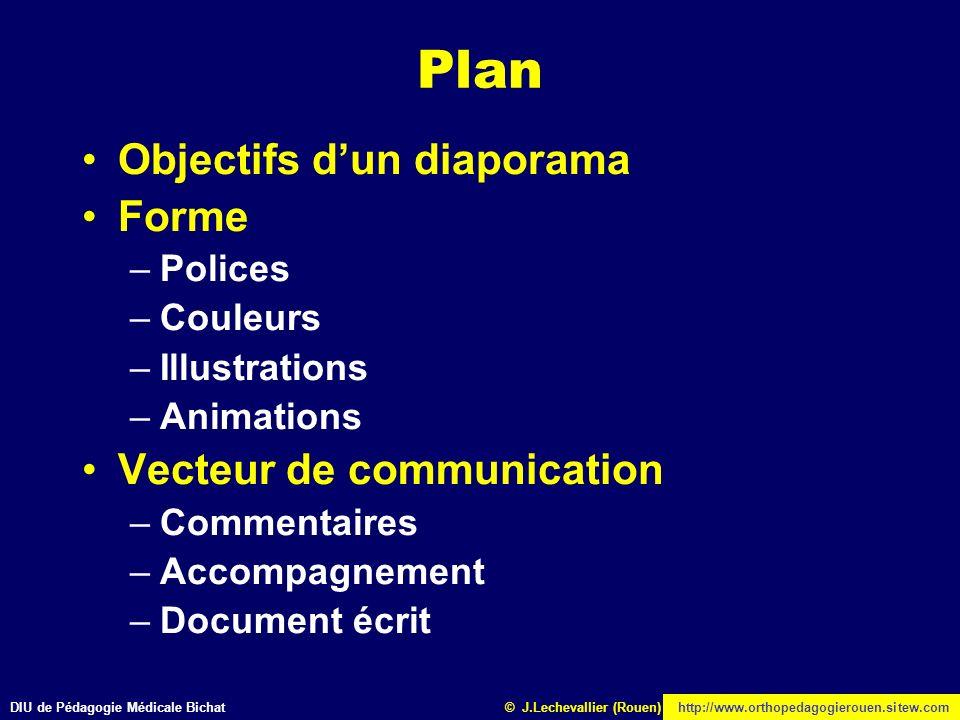 Plan Objectifs d'un diaporama Forme Vecteur de communication Polices