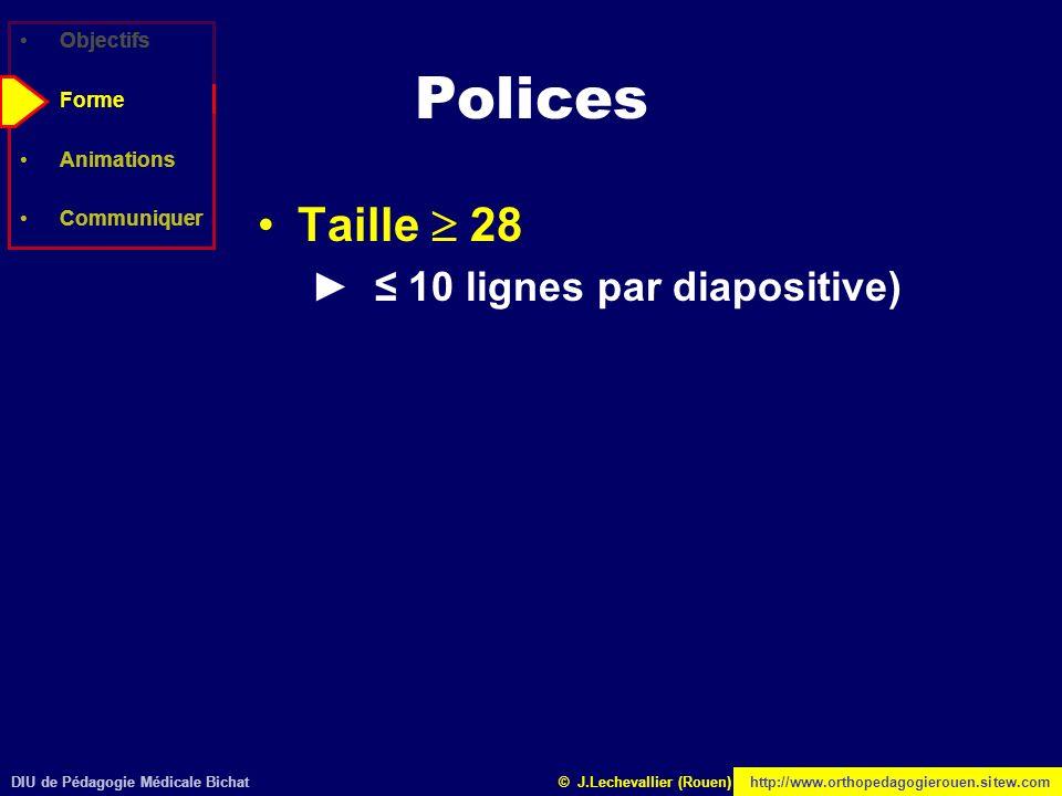 Polices Taille  28 ► ≤ 10 lignes par diapositive) Objectifs Forme