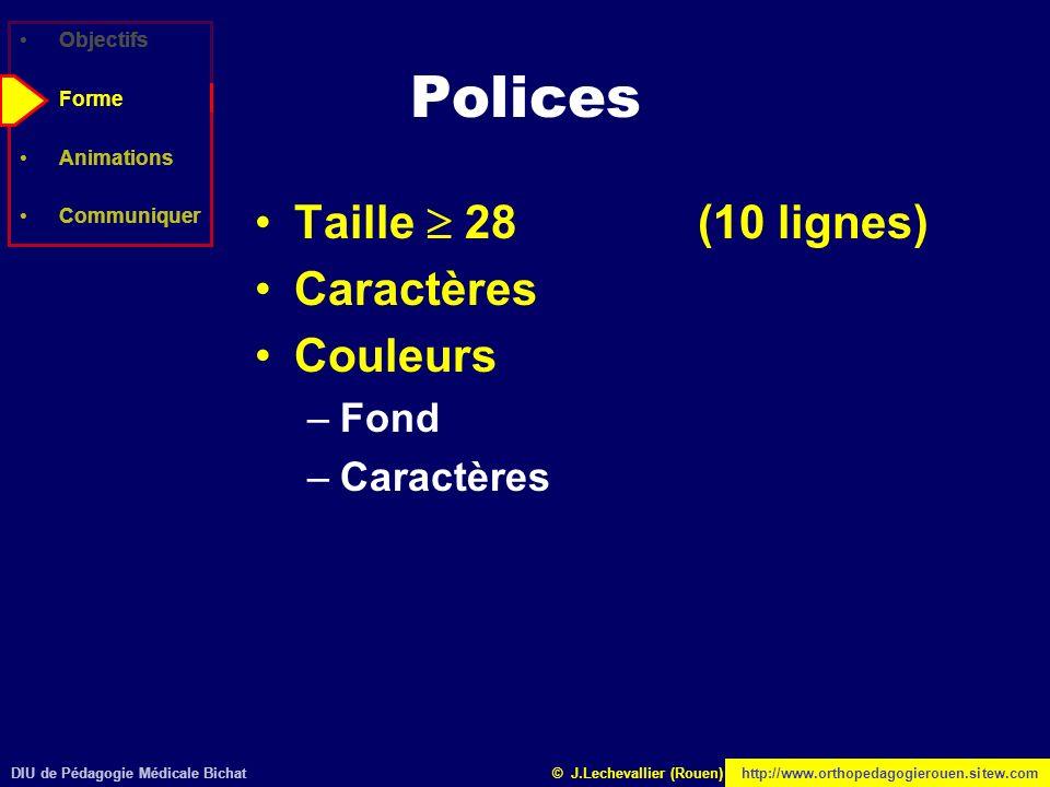 Polices Taille  28 (10 lignes) Caractères Couleurs Fond Objectifs
