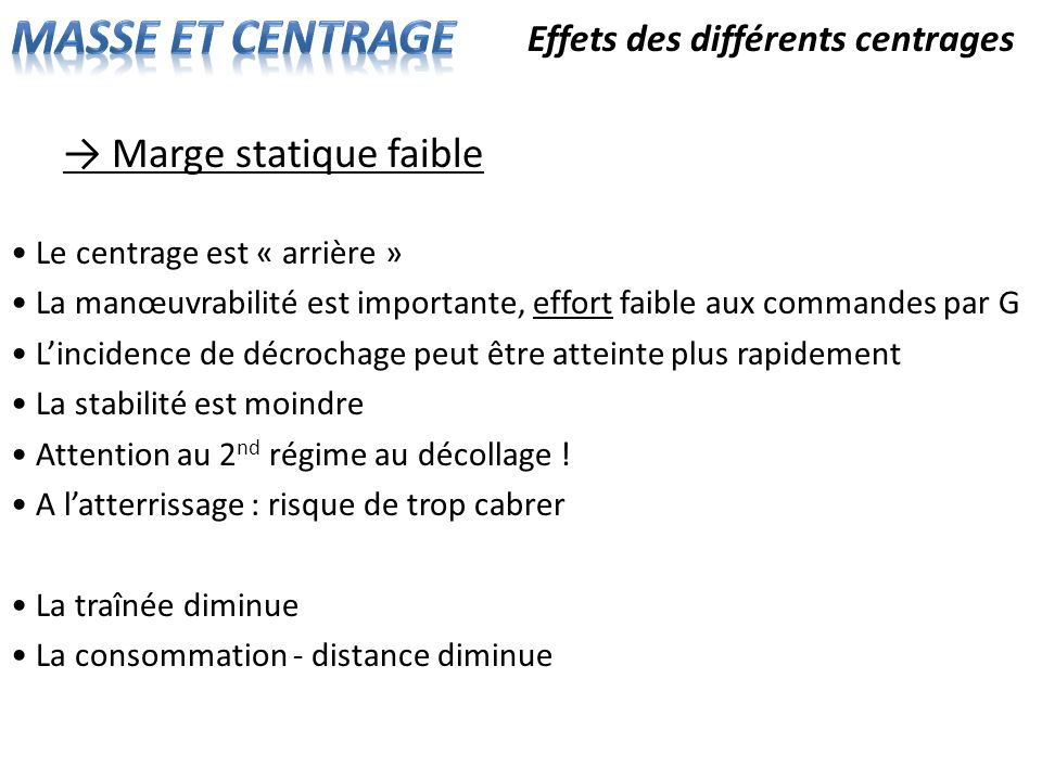 MASSE ET CENTRAGE → Marge statique faible
