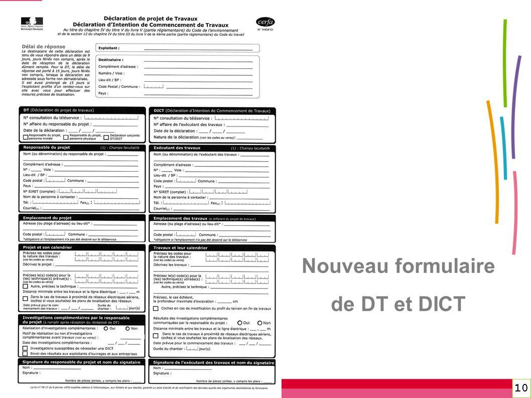 Nouveau formulaire de DT et DICT