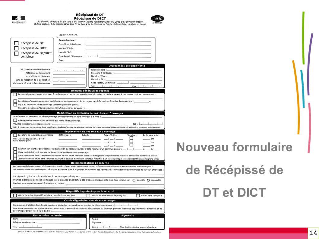 Nouveau formulaire de Récépissé de DT et DICT