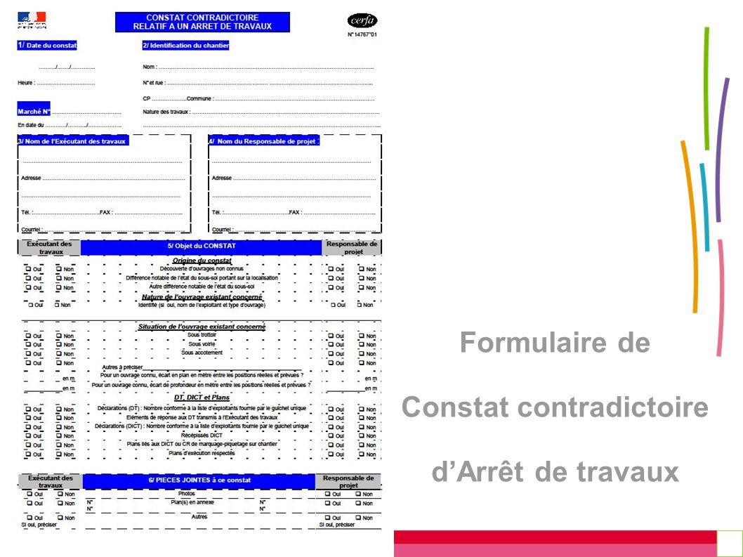 Formulaire de Constat contradictoire d'Arrêt de travaux