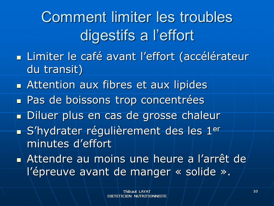 Comment limiter les troubles digestifs a l'effort
