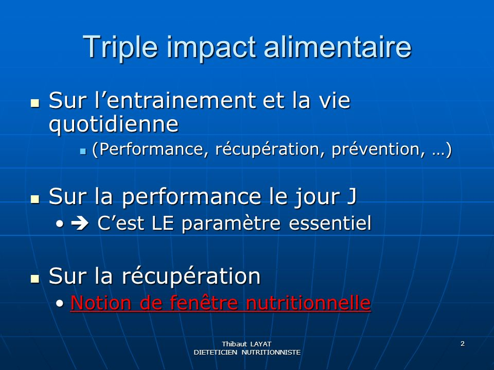 Triple impact alimentaire