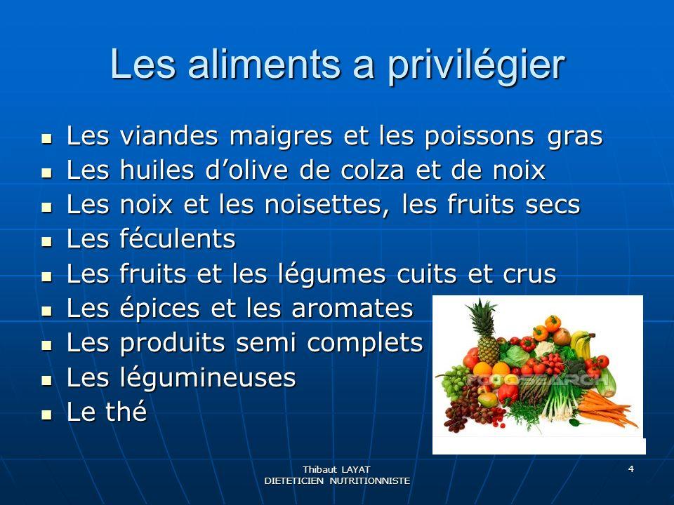 Les aliments a privilégier