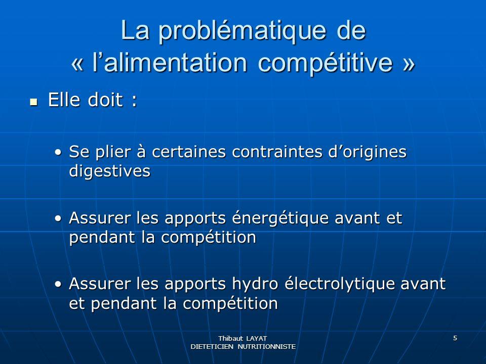 La problématique de « l'alimentation compétitive »