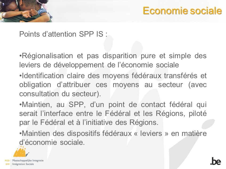 Economie sociale Points d'attention SPP IS :