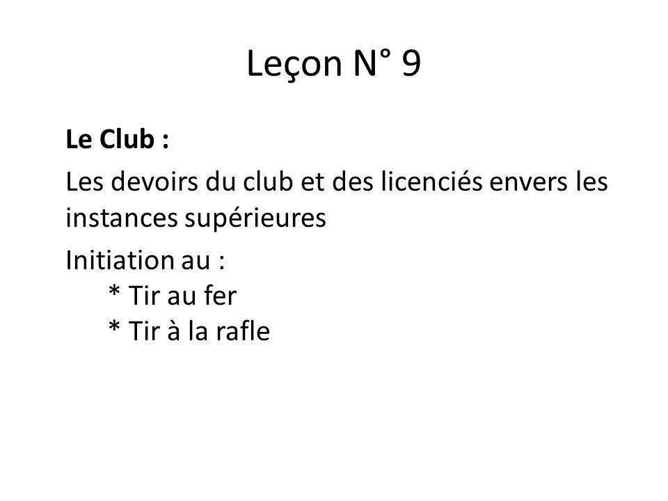 Leçon N° 9 Le Club : Les devoirs du club et des licenciés envers les instances supérieures Initiation au : * Tir au fer * Tir à la rafle