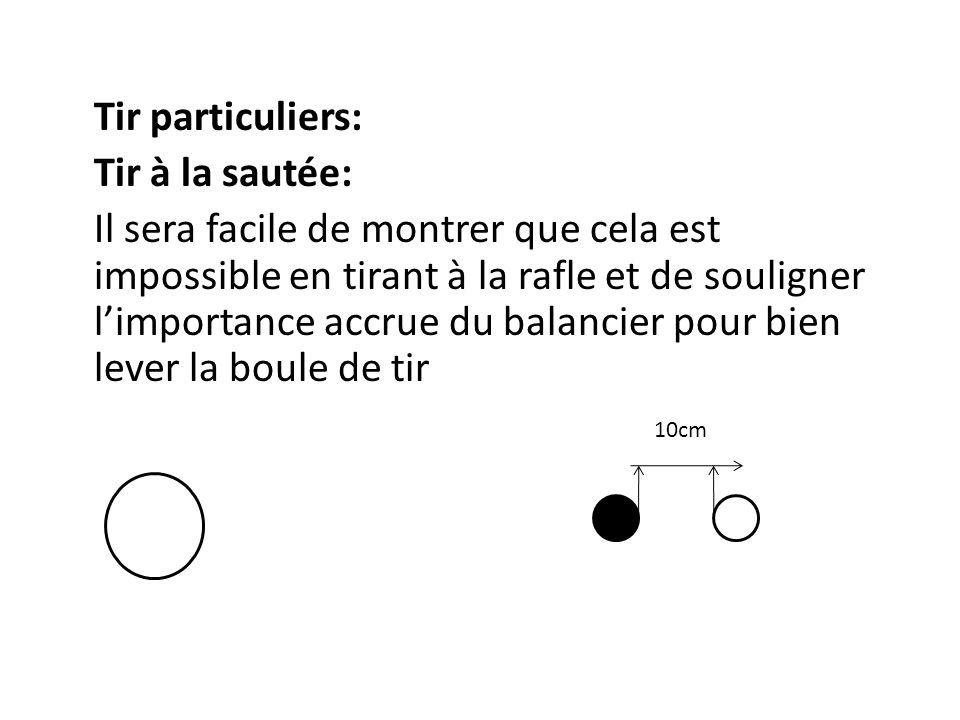 Tir particuliers: Tir à la sautée: Il sera facile de montrer que cela est impossible en tirant à la rafle et de souligner l'importance accrue du balancier pour bien lever la boule de tir 10cm