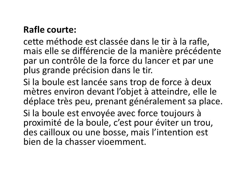 Rafle courte: cette méthode est classée dans le tir à la rafle, mais elle se différencie de la manière précédente par un contrôle de la force du lancer et par une plus grande précision dans le tir.