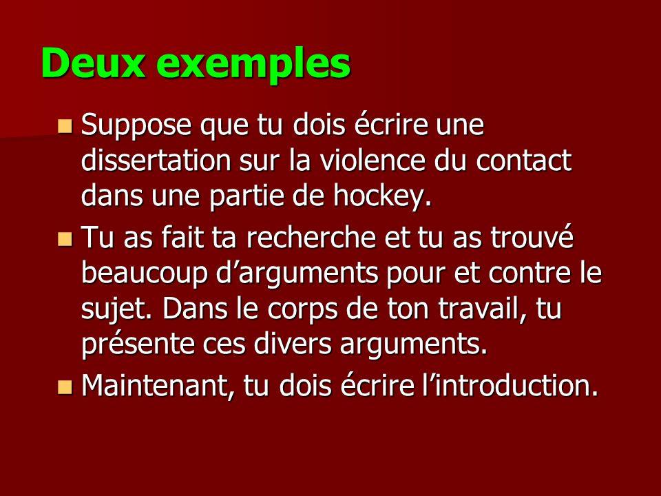 Deux exemples Suppose que tu dois écrire une dissertation sur la violence du contact dans une partie de hockey.